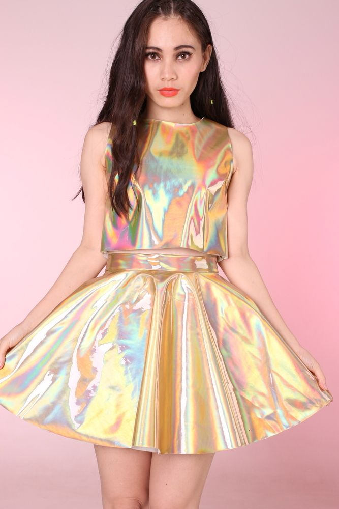 (Make skirt go to the knee and perfect!!) Gold hologram 2 piece set <3