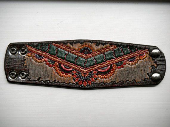Leather Henna Styled Cuff