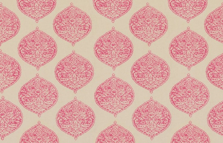 For chairs in dining? Love this! Pink Isabelle hand blockprint fabric by Madeline Weinrib #blockprint #fabrics #pink