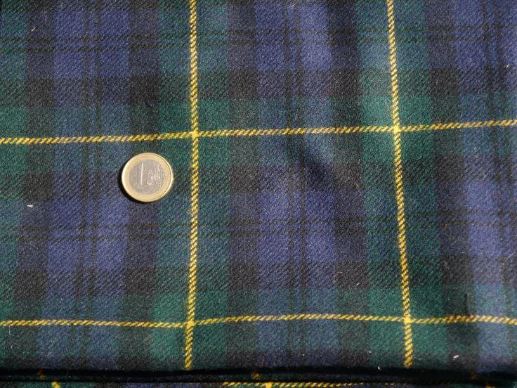 Coupon de tissu lainage tartan bleu vert et jaune : Tissus Habillement, Déco par lecomptoirdesmatieres