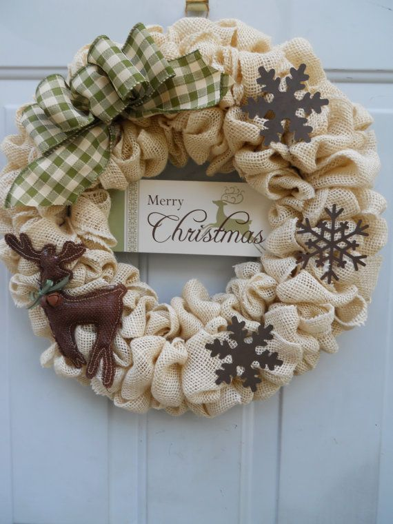 Country Christmas Cream Burlap Wreath with by ChloesCraftCloset