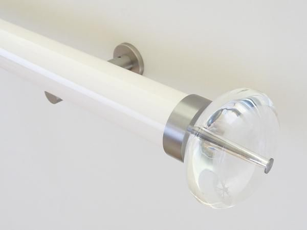 50mm diameter gloss lacquered curtain pole with acrylic finials and steel brackets