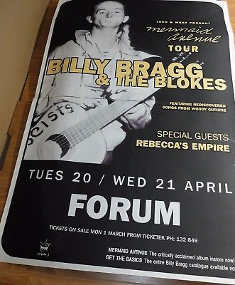 BILLY BRAGG. 1999 Australian 2 Sheet Concert Tour Poster. WOODY GUTHRIE, REBECCA'S EMPIRE. 152 x 102cm. Click Pic to find in eBay Store.