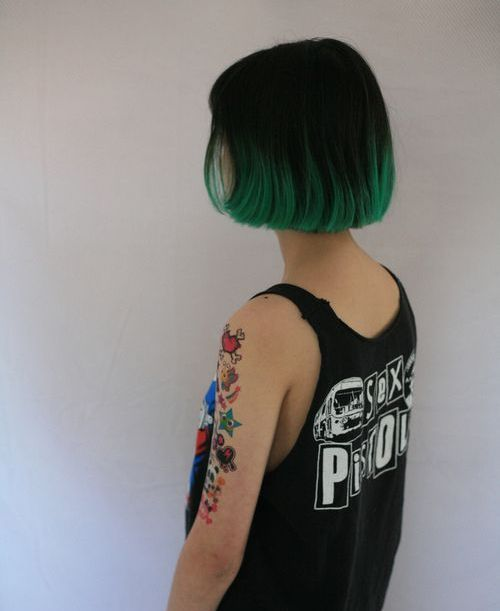 Green Dip Dye Short Cropped Hair