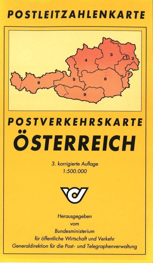 Austria, Postal Code Map by Freytag-Berndt und Artaria