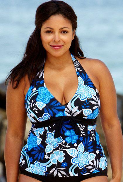 Beach Belle Blue Maui - Tie Front Halter Tankini Top