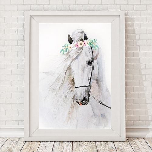 Watercolour Willow Horse print by Bespoke Moments - Worldwide Shipping.