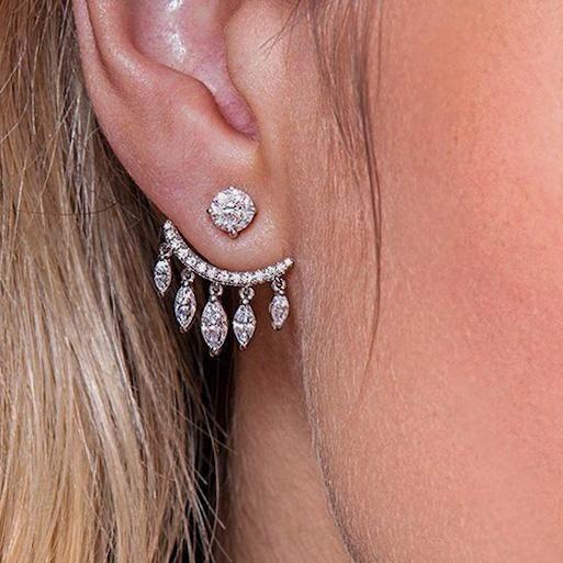 Cz Diamond Teardrop Dangle Ear Jackets #earjackets