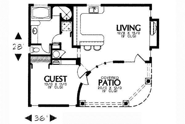 Plano de casa unifamiliar peque a con porche planos de - Casas con porche ...