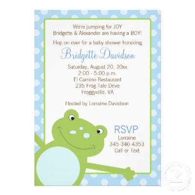 See More Frog Theme Baby Shower Invitations Here