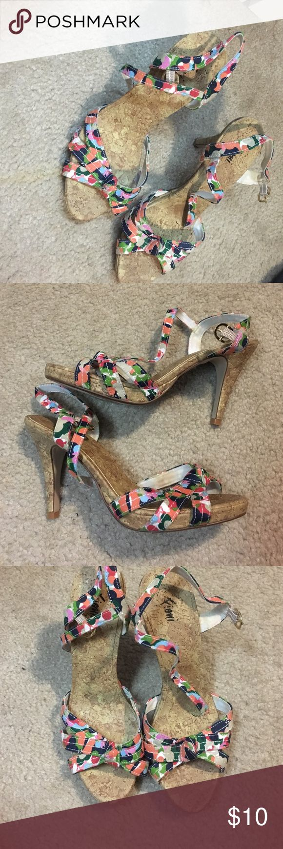 Floral heeled shoes Floral strappy heels with small heel. Only worn a couple of times and still in good condition FIONI Clothing Shoes Heels
