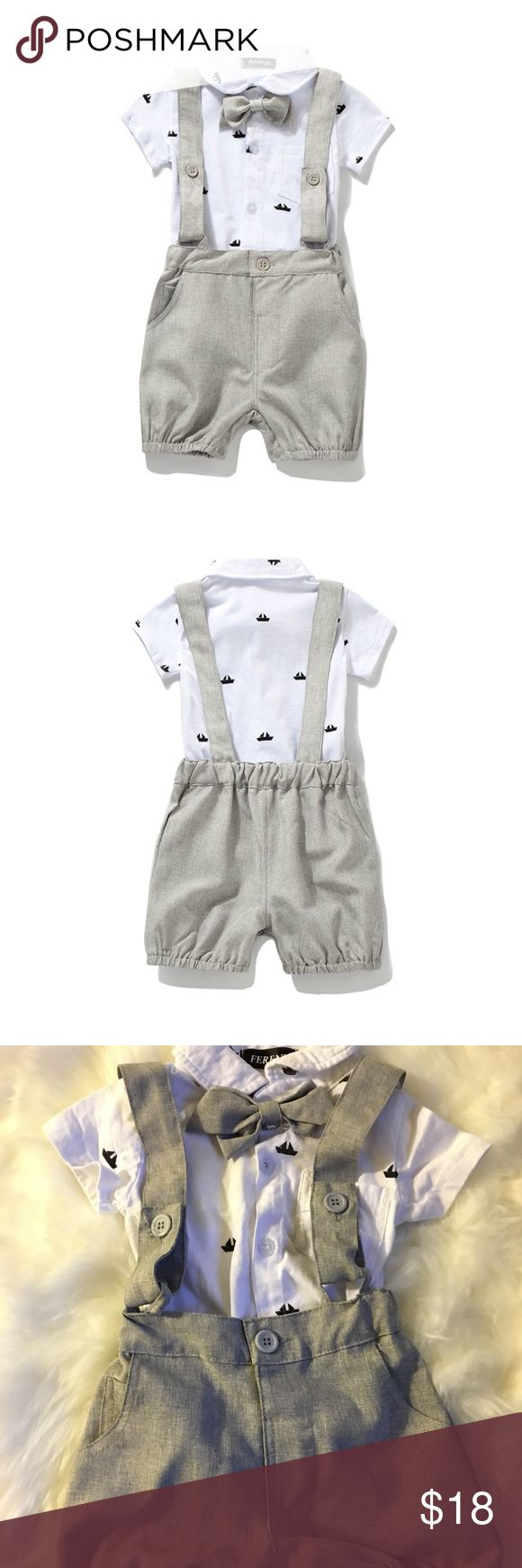 👶🏼 Baby Boys Bowtie Jumpsuit Overalls Rompers Boys gentleman romper, V-neck with a bow tie, short sleeves.Plaid design on attached faux straps and the bottom. Suitable for pageant, party, wedding or birthday. Buttons on top bodice and crotch for easy wearing. The shirt does have a yellow stain please refer to last picture. Matching Sets