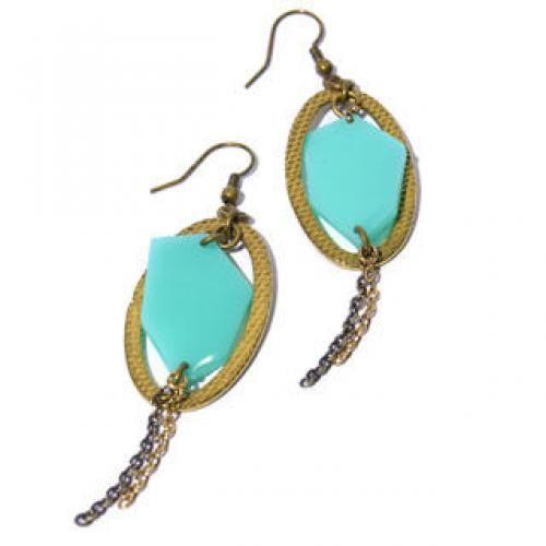Green Polygon & Gold Circle Earrings