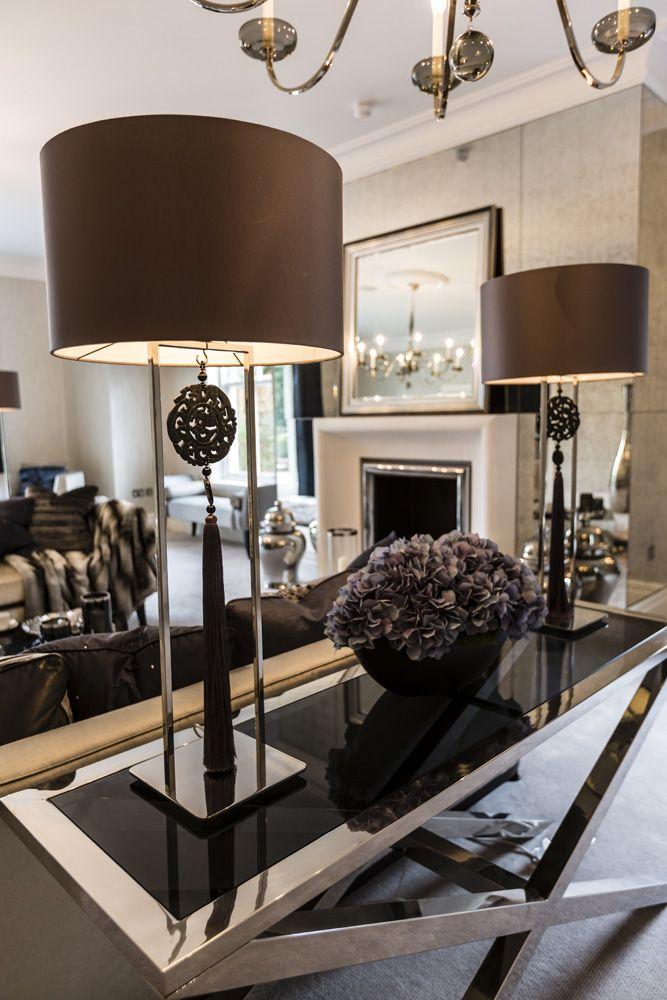 Fireplace surround; Tassel lamps || Concept Interiors