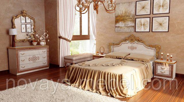 Спальный гарнитур «Дженифер», роскошно оформленный в стиле барокко, продемонстрирует всю свою красоту и шик в просторной спальне.
