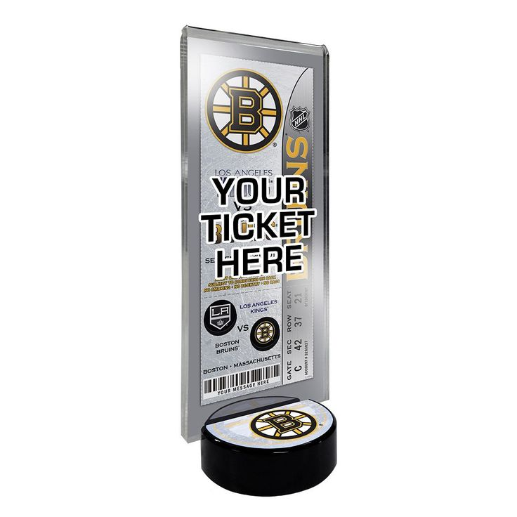 Boston Bruins Hockey Puck Ticket Display Stand, Multicolor