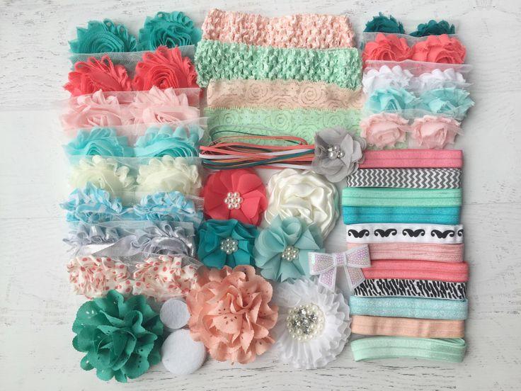 "Baby Shower Headband Kit ""Coral and Mint"", Baby Shower Headband Station, DIY…"