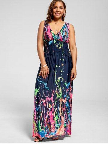 Empire Waist Sleeveless Plus Size Maxi Splatter Print Dress ...