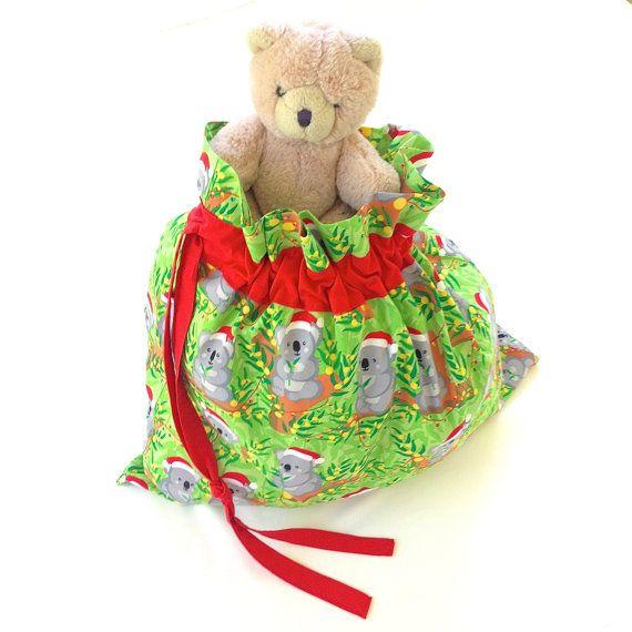 Australia Santa Sack Christmas Koala Present Bag Handmade