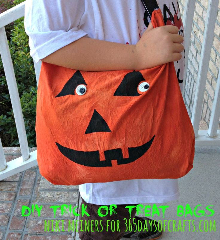 Dyed painted and sewn pumpkin trick or treat bag.