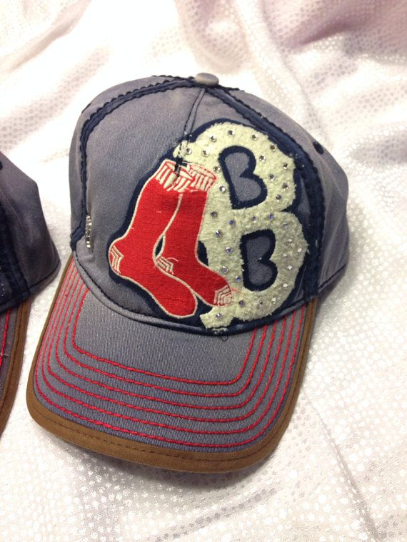 Boston Red Sox Swarovski bling hat by RoctheCrystal on Etsy, $20.00