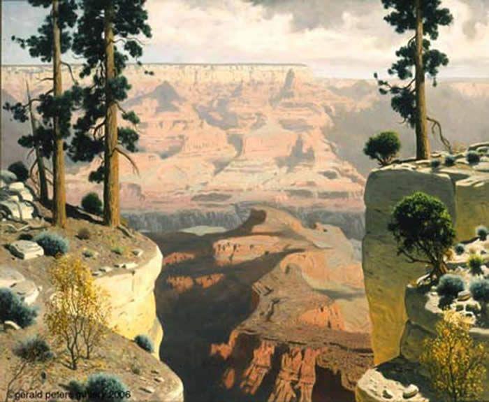 Grand Canyon of the Colorado by James Swinnerton (1875-1974) Oil on Canvas  #JamesSwinnerton