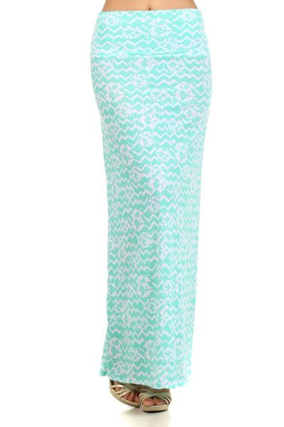 Assa Turquoise and White Long Maxi Skirt Made in USA, Polyester Blend Large #Assa #Maxi