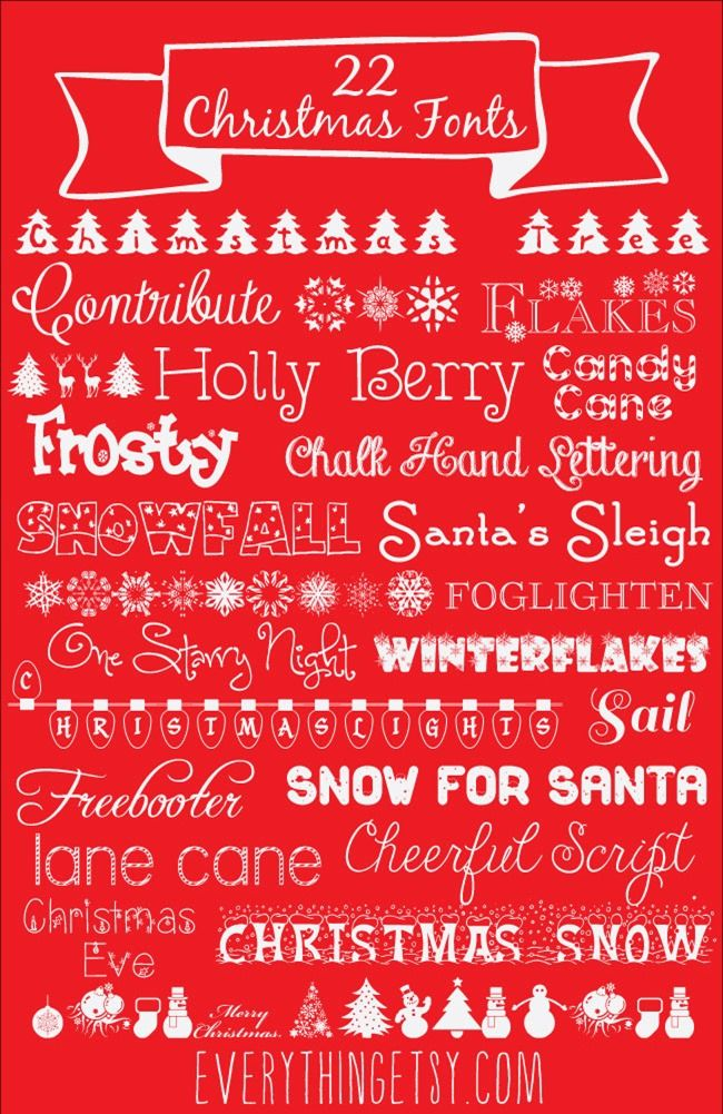 22 Christmas Fonts {free} | Everything Etsy | Bloglovin'                                                                                                                                                                                 More