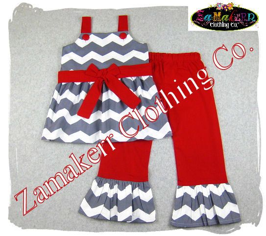 READY TO SHIP 3T / 3  Girl Chevron Christmas by ZamakerrClothingCo, $40.99