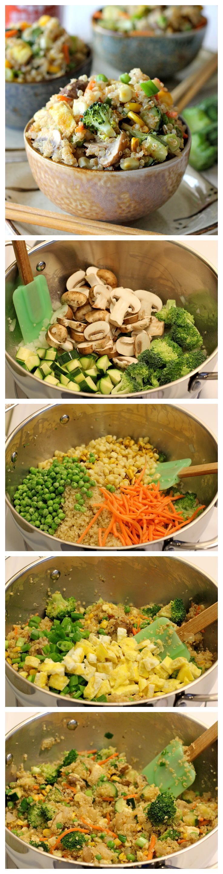 """Quinoa Veggie """"Fried Rice"""" - Quinoa is a wonderful substitute in this protein-packed veggie """"fried rice""""!"""