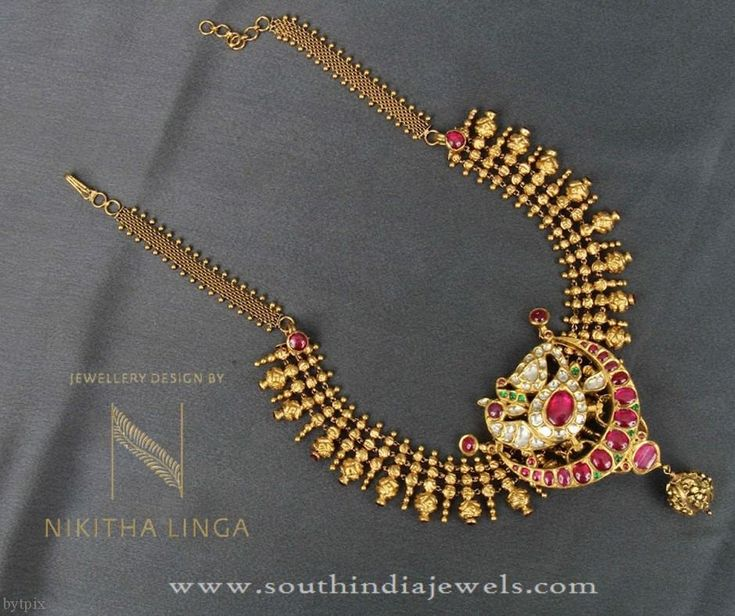 Indian Gold Necklace Patterns, Indian Gold Short Necklace Patterns, Indian Antique Necklace Patterns.