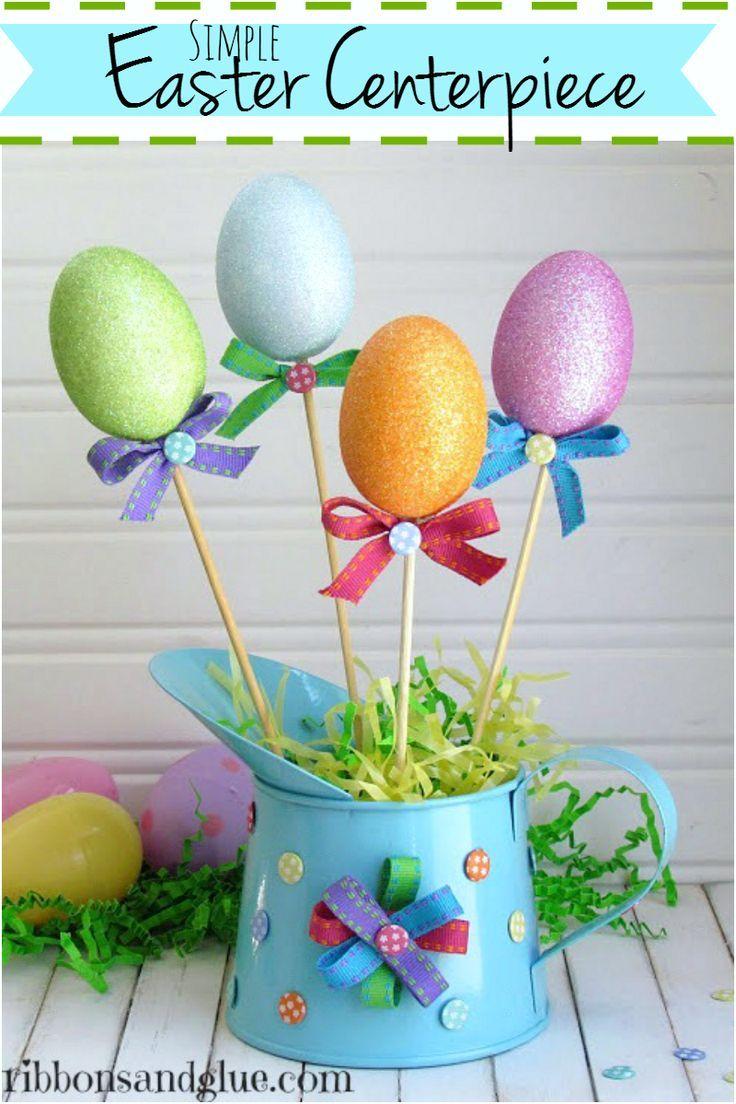 Easter Egg Centerpiece made from Dollar Store items #dollarstorecrafts #eastercenterpiece