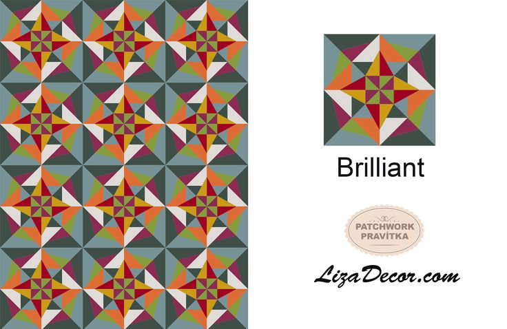 Patchworková šablona Brilliant #patchwork #lizadecor #video #tutorial #vzory #šablony #pattern #brilliant #quilt