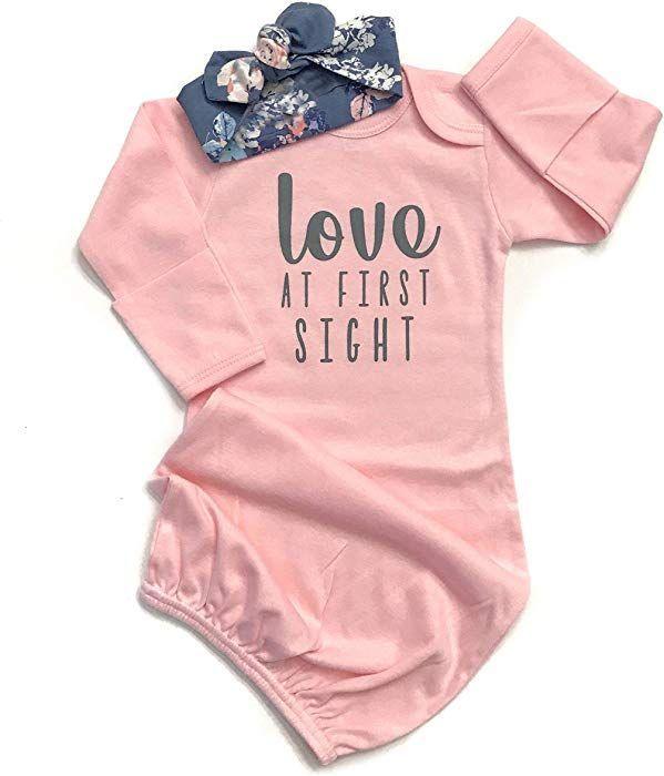 e02b6c3e240f Newborn Baby Girl Love at First Sigth Floral Nightgowns Headband Sleepwear  Sleeping Bag (Pink