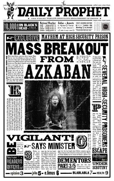 The Daily Prophet announces the 1996 Azkaban Mass Breakout - Harry Potter Wiki