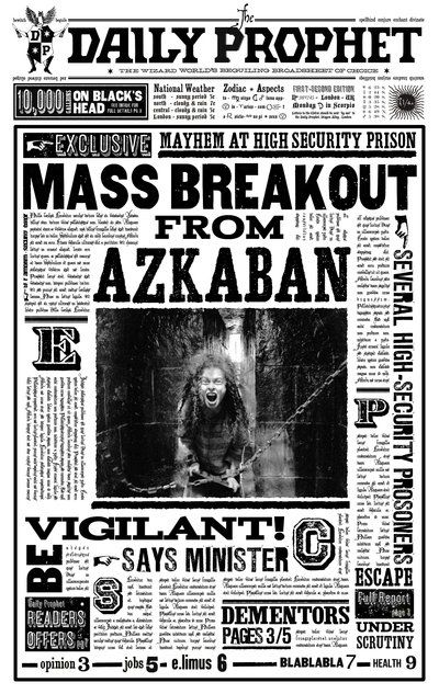 The Daily Prophet announces the 1996 Azkaban Mass Breakout - Harry Potter Wiki