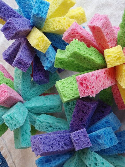 DIY bath toys made out of sponges