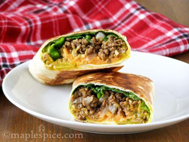 maple•spice: Pan-Fried Vegan Cheeseburger Wrap