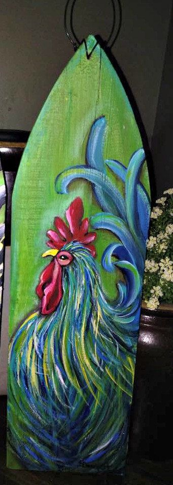 rooster sign rooster painting rooster wall by CottageDesignStudio 32.00 rooster décor, rooster kitchen décor, hand painted rooster on picket fence