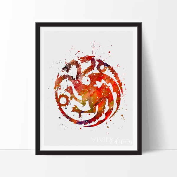 House Targaryen Watercolor Art. This art illustration is a composition of digital watercolor images and silhouettes in a minimalist style.