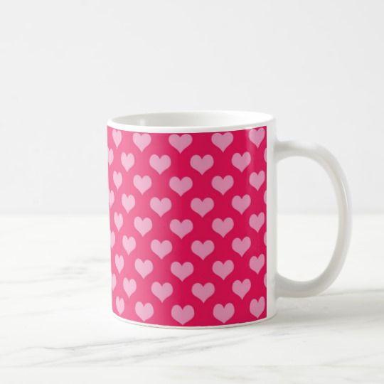 Lovely pink Hearts Pretty and Nice Coffee Mug - Bonita Taza de Café con Corazones Rosados #hearts #pink #pretty #coffeemugs