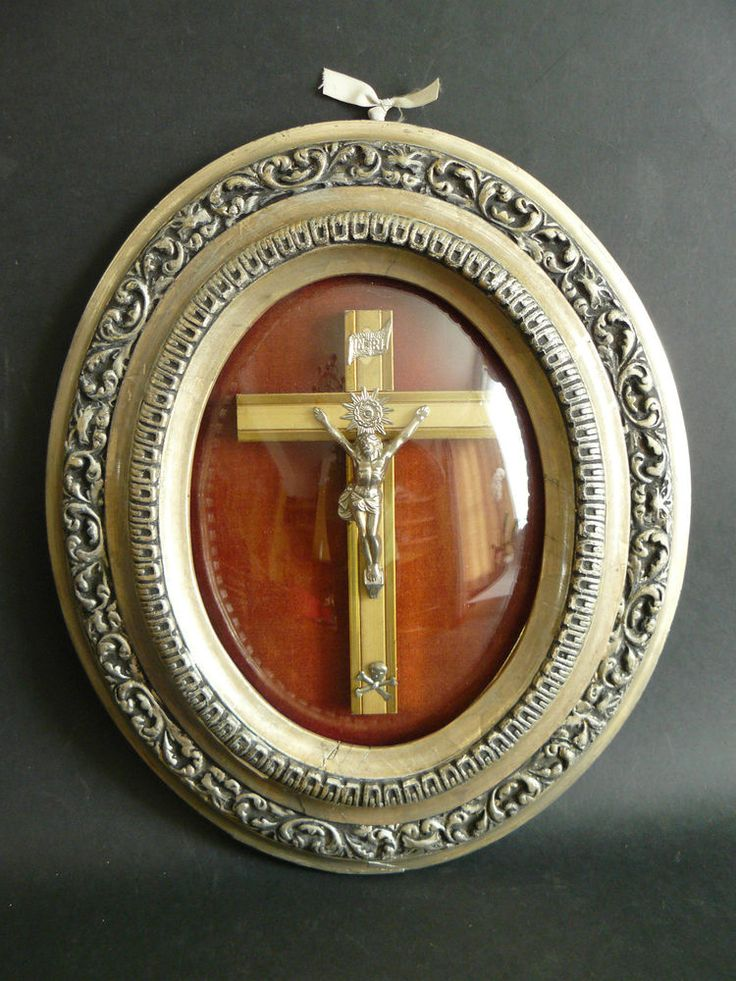 Antique Crucifix Set on Velvet in Ornate Gesso Gilt Frame with Convex Glass