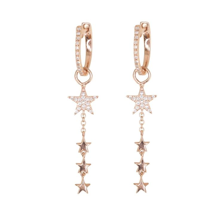14kt gold and diamond dripping star earring