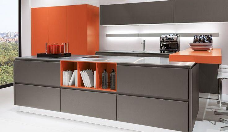 Good Silver brown u orange matt kitchen in a contemporary uTrue u Handleless style Kitchens Pinterest Kitchens and Contemporary