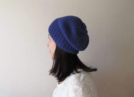 Royal Blue Slouchy Hat Hand Knit Chunky Slouch by naryaboutique