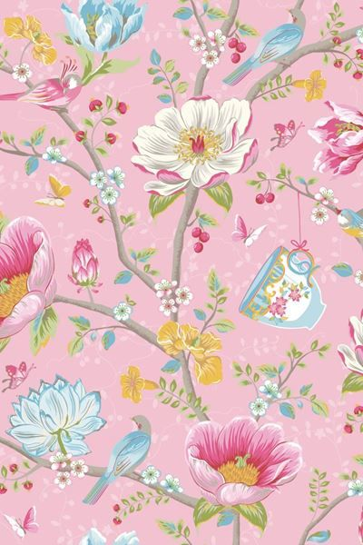 Show details for Chinese Garden wallpaper pink