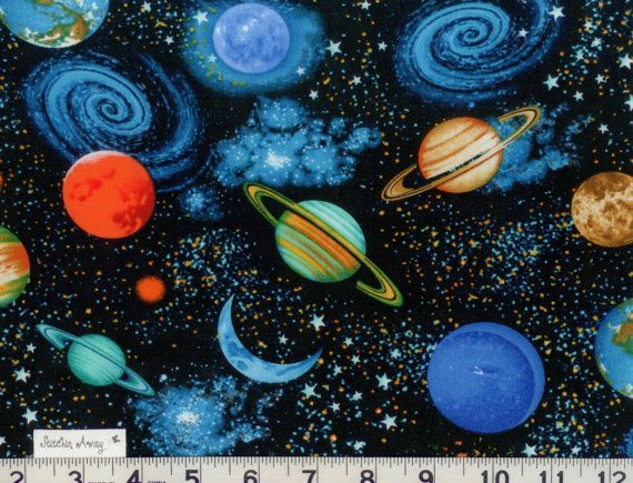 Solar system planets on black fabric new 100 cotton for Space themed fabric