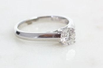 Bilkey & Co diamond solitaire with V shaped band.