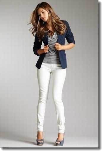 Say no to white pants, but like the outfit quite a bit.