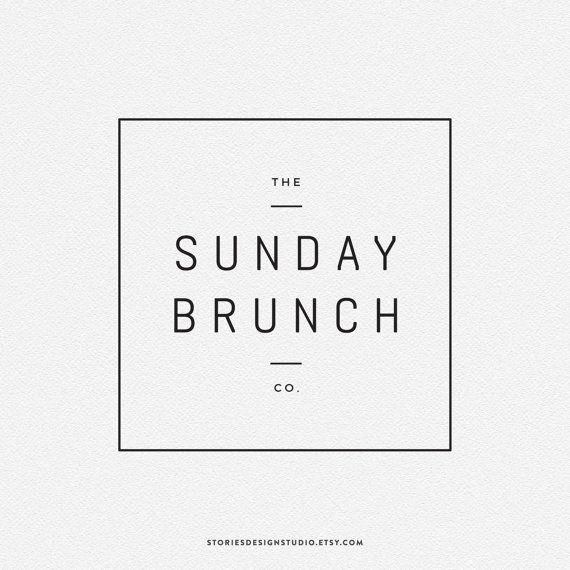 "Premade Logo // A modern, minimalist, square logo design - ideal for a blog, photographer, cafe or clothing business - ""Sunday Brunch"""